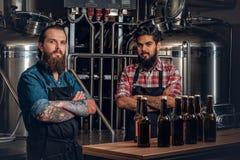 Dos hombres que presentan la cerveza del arte en el microbrewery Imagenes de archivo
