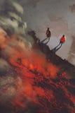 Dos hombres que se colocan en el borde del acantilado de la roca volcánica con lava ilustración del vector