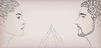 Dos homens fêmeas da senhora da menina da mulher toque loving masculino do toque da proposta dos pares Foto de Stock