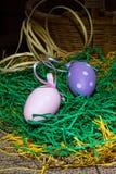 Dos huevos coloreados Imagen de archivo libre de regalías