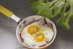 Dos huevos fritos en un sartén Fotografía de archivo libre de regalías