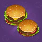 Dos iconos de la hamburguesa en fondo azul Imagen de archivo libre de regalías
