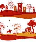 Dos iconos de las casas, de la gente y de la naturaleza Imagen de archivo libre de regalías