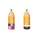 Dos iconos de los lápices aislados en blanco stock de ilustración