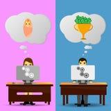 Dos ideas de los oficinistas Imagenes de archivo