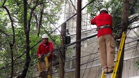 Dos individuos del cable fijan algunas líneas, para restaurar el servicio