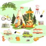 Dos individuos que disfrutan de acampar en los iconos de Forest Surrounded By Related Objects Imagenes de archivo
