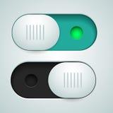 Dos interruptores blancos con verde de la lámpara de señal Imágenes de archivo libres de regalías
