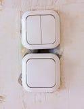 Dos interruptores eléctricos Foto de archivo libre de regalías