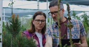 Dos jardineros que usan la tableta en jard?n del cuarto de ni?os almacen de video