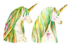 Dos jefes de un unicornio con una melena verde libre illustration