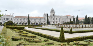 Dos Jeronimos monastery , lisbon city, europe. Near The Belem tower of Lisbon city, on the banks of the Tagus river, the dos Jeronimos monastery Stock Photos
