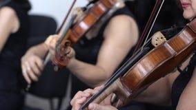 Dos juegos de la mujer en los violines de madera en la cámara lenta en el concierto de la sinfonía almacen de metraje de vídeo