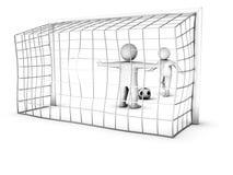 Dos jugadores de fútbol 3D y la puerta Fotos de archivo