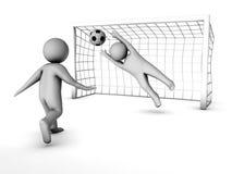 Dos jugadores de fútbol 3D y la puerta Fotos de archivo libres de regalías