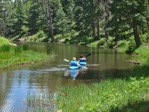 Dos kajaks azules en el lago canyon de maderas imágenes de archivo libres de regalías