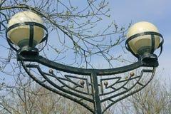 Dos lámparas de calle entre árboles en parque Fotos de archivo libres de regalías