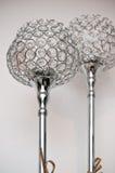 Dos lámparas de plata únicas del cromo imágenes de archivo libres de regalías