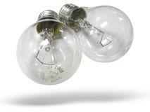 Dos lámparas del bulbo aisladas sobre blanco Foto de archivo libre de regalías