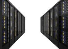 Dos líneas de estantes del servidor Imágenes de archivo libres de regalías