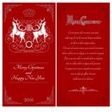 Dos lados de postal del rojo de la Navidad Dos ciervos blancos contra uno otros con el modelo del remolino libre illustration