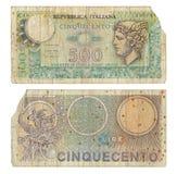 Italiano interrumpido 500 liras de nota del dinero Foto de archivo libre de regalías