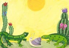 Dos lagartos lindos en el desierto Fotos de archivo libres de regalías