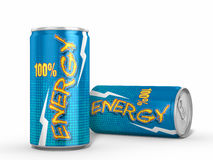 Dos latas de las bebidas de la energía contra el fondo blanco Imagenes de archivo