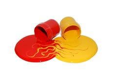 Dos latas de pintura upside-down, mezcla Fotografía de archivo libre de regalías