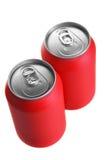 Dos latas rojas de la bebida fotos de archivo libres de regalías