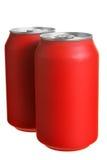 Dos latas rojas de la bebida Imagen de archivo