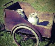 Dos latas viejas de la leche transportadas con un carro viejo Fotografía de archivo libre de regalías