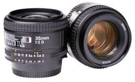 Dos lentes de cámara Imagen de archivo libre de regalías