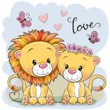 Dos leones en un fondo azul libre illustration