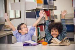 Dos libros de lectura de los niños jovenes en la biblioteca escolar Fotografía de archivo