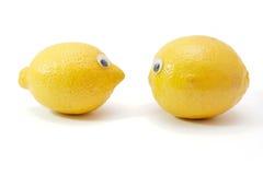 Dos limones con los ojos aislados Fotos de archivo libres de regalías