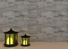 Dos linternas con la luz en el interior del sitio en 3D rinden imagen stock de ilustración