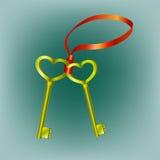 Dos llaves de la manera del corazón Fotos de archivo libres de regalías
