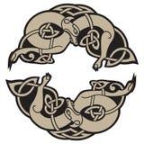 Dos lobos de Odin - de Geri y de Freki, escandinavo y de estilo celta ilustración del vector