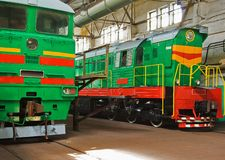 Dos locomotoras viejas Foto de archivo libre de regalías