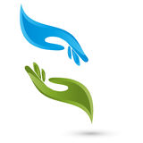 Dos logotipos de las manos, de la fisioterapia y del masaje ilustración del vector