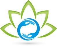 Dos logotipos de las manos y de las hojas, de la planta, de la salud y del masaje libre illustration