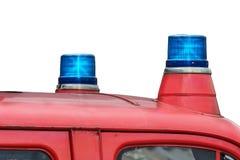 Dos luces azules que destellan Imágenes de archivo libres de regalías