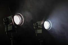 Dos luces en humo Imagen de archivo