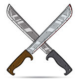 Dos machetes cruzados de la historieta Ilustración del vector en el fondo blanco Fotos de archivo