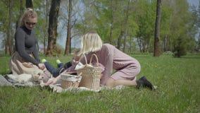 Dos madres jovenes con ellos ni?os que se sientan en la manta en parque asombroso verde en la naturaleza el d?a de primavera Mama metrajes