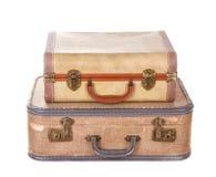 Dos maletas de la vendimia aisladas Imagen de archivo libre de regalías