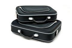 Dos maletas negras Imagen de archivo libre de regalías