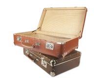 Dos maletas retras Fotografía de archivo