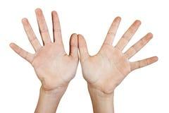 Dos manos abiertas. Foto de archivo libre de regalías